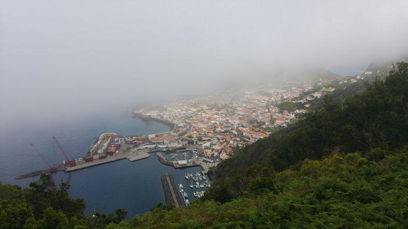 Sao Jorge Island Velas City Foggy Weather Atlantic Ocean Harbour View Harbour