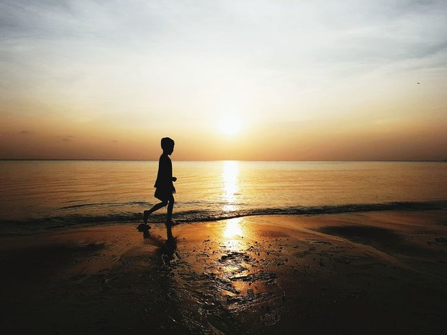 Water Sea Full Length Child Sunset Beach Sand Boys Silhouette Summer Low Tide Romantic Sky Seascape Coast