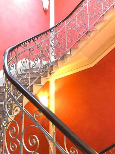 Railing Steps And Staircases Staircase Architecture Built Structure No People Red Low Angle View Close-up Indoors  Day First Eyeem Photo