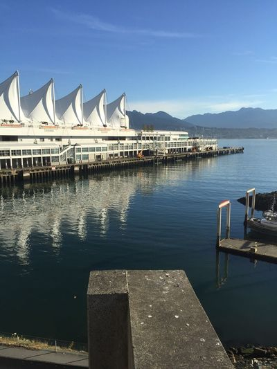 Waterfront in downtown Vancouver Water Waterfront Reflection Vancouver BC Morning In Canada Panpacific Hotel