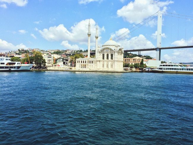 Istanbul Istanbul Turkey Ortaköy Architecture Built Structure Ortaköycamii Ortaköy Mosque Ortaköy Water Waterfront Lighthouse Guidance Smoke Stack River Tower Factory Sky Industry Cloud - Sky Blue Sea Outdoors Town Day Harbor First Eyeem Photo