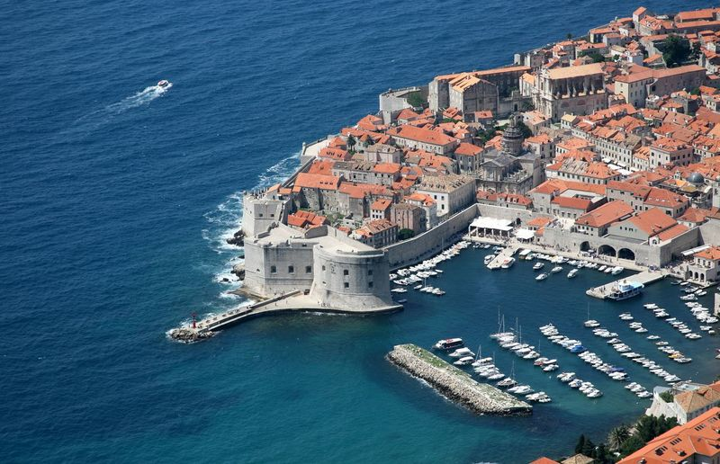 Walls of dubrovnik by adriatic sea