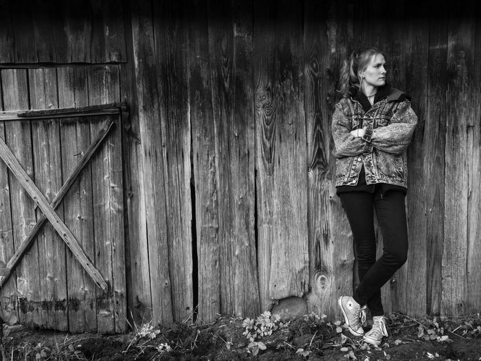 Lina Black & White Waiting Female Girl Looking Old Barn One Person Outdoors Women Wood - Material Wood Structure