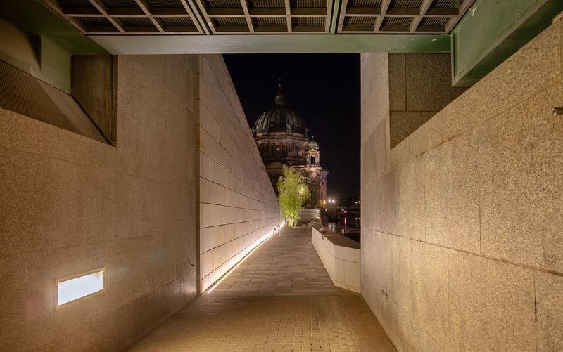 Corridor of building at night