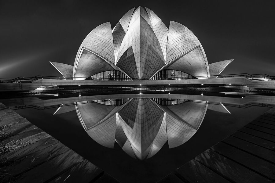 Lotus temple... Architecture Building Exterior Travel Destinations Illuminated Blackandwhite Blackandwhite Photography Black And White Photography Bnw_collection Bnw_friday_eyeemchallenge Reflection Reflection_collection Monochrome Noir Architecture_collection EyeEm Best Shots Architectural Feature Architectural Detail EyeEm Best Shots - Architecture Urban Geometry Urban Landscape Urbanphotography Bnw_life Bnw_society Black And White Collection  EyeEm Gallery Black And White Friday