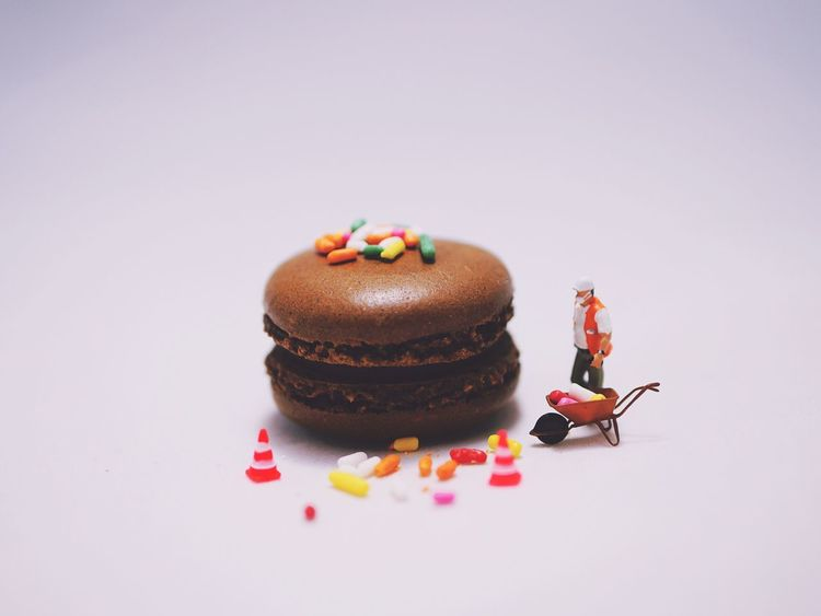 EyeEm Selects Macarons French Pastries Under Construction Work In Progress Clean Up Crew Chocolate Cookie Birthday Tiny People Humor Toy Photography Miniatures