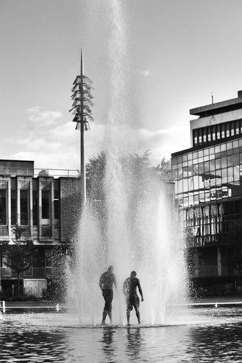 View of splashing fountain