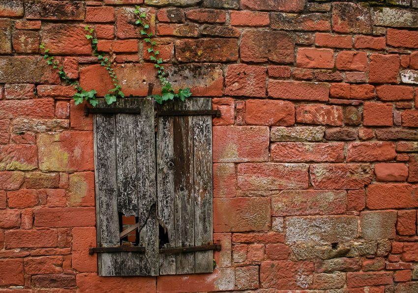 Collonges La Rouge Abandoned Architecture Brick Brick Wall Building Exterior Built Structure Day No People Old Old House Outdoors Red Shutter Stone House Window
