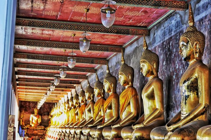 Thailand Travel Religion Spirituality No People Low Angle View Indoors  Place Of Worship Gold Colored Day Built Structure Statue Architecture Beauty In Nature Thailand Photos EyeEm Thailand Thailandtravel EyeEm Team Watarunbangkok Bangkok Thailand