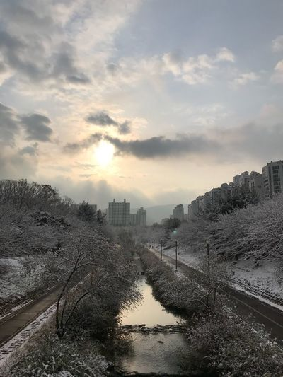 Sunrise River Bundang Park Nature Tree Winter Snow Korea Sky No People Outdoors Nature Day Architecture Tree Beauty In Nature City