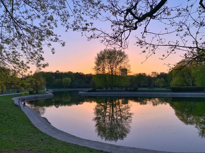 🌿 Spring Time 🌿 IPhoneography Evening Spring Park Springtime Reflection Water Sunset Sky Tree Lake Beauty In Nature Plant Tranquility No People Scenics - Nature Nature Tranquil Scene Outdoors Idyllic Bird Clear Sky Growth Flock Of Birds