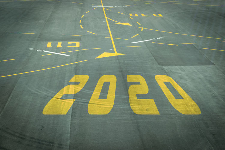 High angle view of 2020 numbers on runway