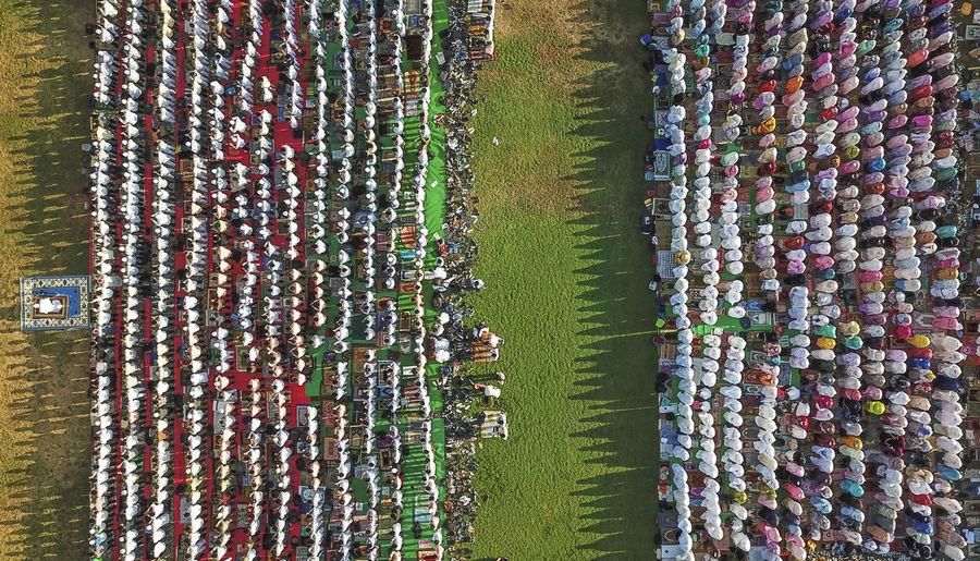 Aerial view of men praying on land