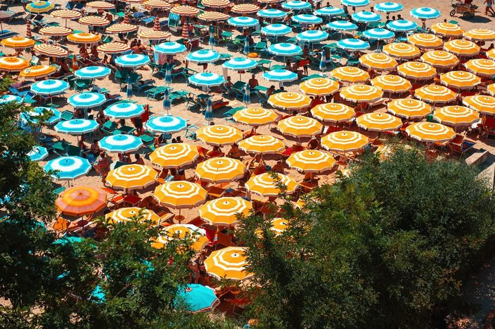 Beautifully Organized Albania Durres Beach Large Group Of Objects High Angle View Outdoors Multi Colored Day Sea Summer Summertime Aerial View Adriatic Sea