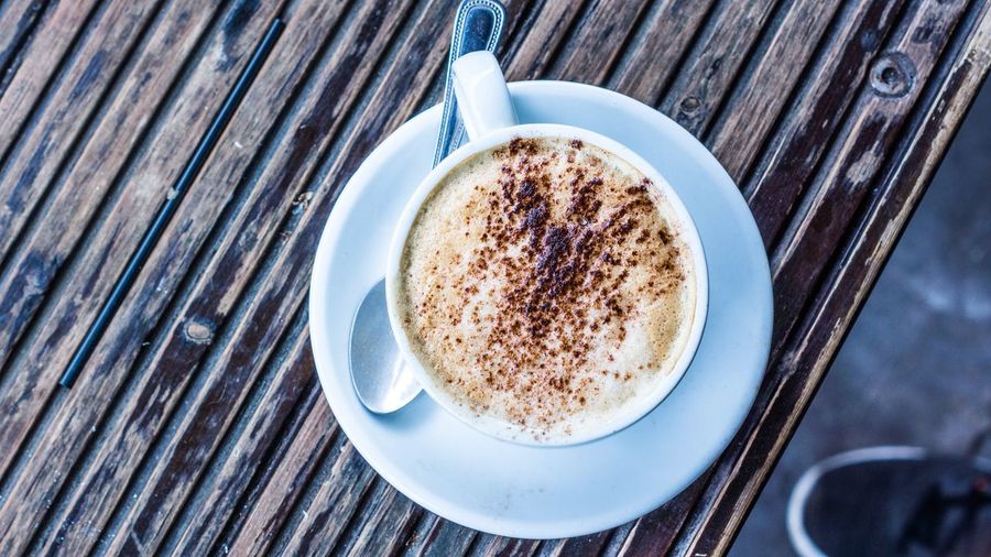 Midday coffees is a must. Coffee Cup Food And Drink Coffee - Drink Table Saucer Spoon Drink Directly Above High Angle View No People Food Milk Frothy Drink Freshness Indoors  Day