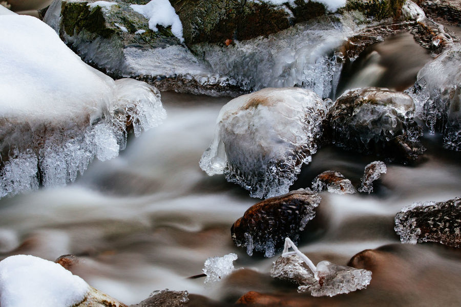 Tadaa Community Winter Harz Ice Covered  Long Exposure River Rocks And Water Snow Spring