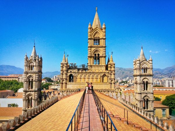 Metropolitan Cathedral Of The Assumption Of Virgin Mary Palermo Sicily Italy Travel Photography Travel Voyage Traveling Mobile Photography Fine Art Sicilian Normand Architecture Crenellated Churches Gothic Towers Giallo A Palermo Tutti I Particolari In Cronaca Palermo Mellow Yellow