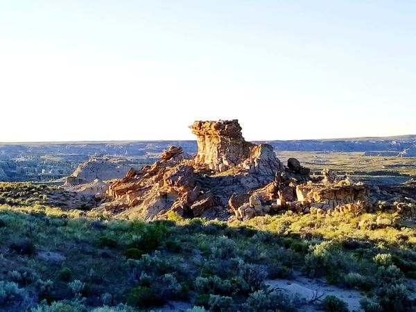 Wyoming Landscape The Great Divide Adobe Town Erosion Effects Rock Formations Sky