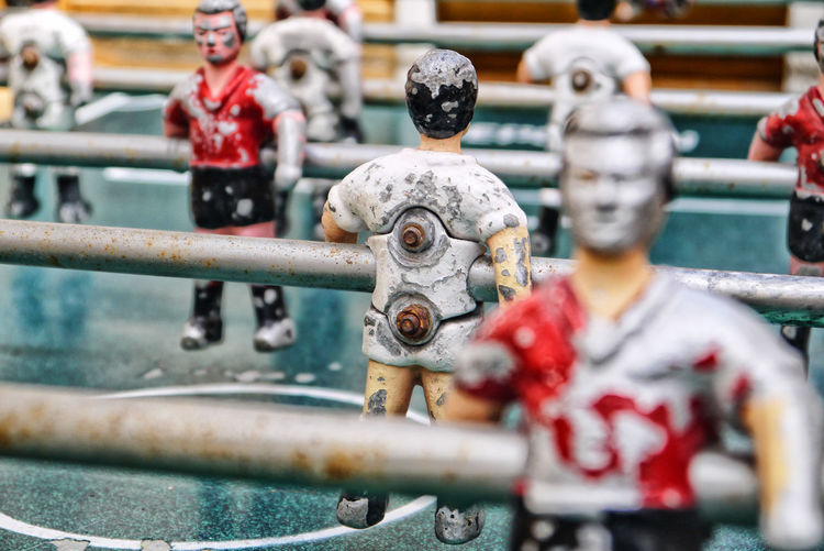 Full frame shot of old foosball