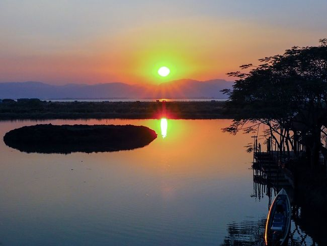 Boat Myanmar Inle Lake Sunset Sun Reflection Scenics Sky Beauty In Nature Water Lake Nature No People Landscape Outdoors