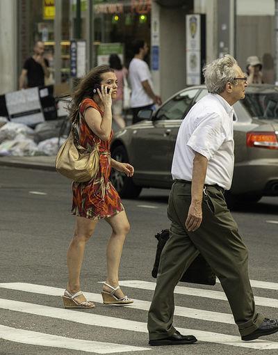 City Life Crosswalk Manhattan Sandals Woman Candid Candid Photography Handbag  Legs Onthephone Real People Streetphotography Upper West Side Urban Wedge
