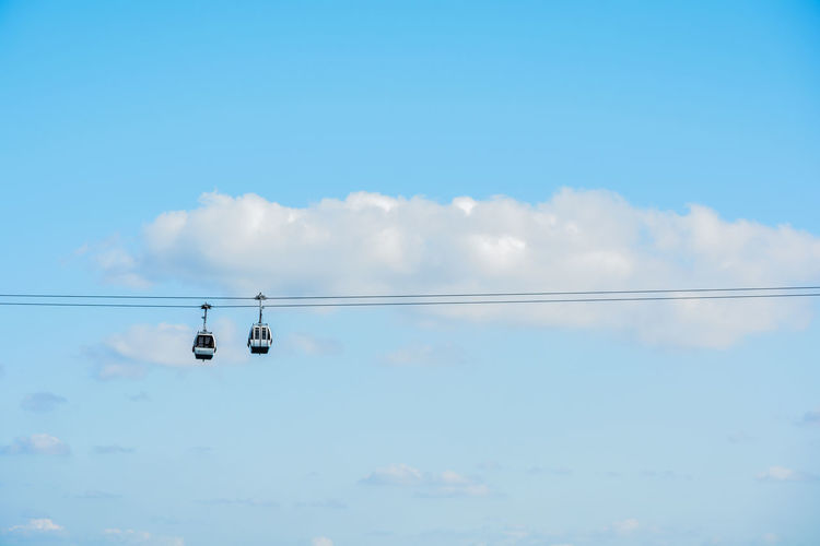 Sky Cloud - Sky Cable Low Angle View Nature Day Blue No People Outdoors Beauty In Nature Transportation Scenics - Nature Hanging Electricity  Mode Of Transportation Sunlight Tranquility Air Vehicle Airplane Power Line