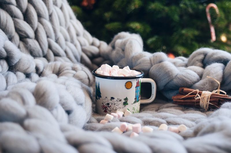 Moomin's mood✨ Moomin Nordic Light Nordic Mood Kakao Cacao Mashmallow Eavening Holiday Christmas Food Knitted  Sweet Food Day No People Close-up Outdoors