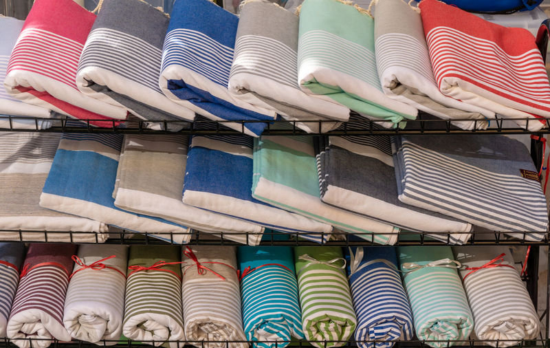 Multi Colored Tablecloths Arranged In Store