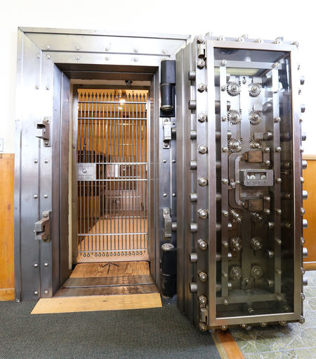Bank vault door Security Bank Bank Vault Door Indoors  Machinery Metal Metallic Metalwork Steel