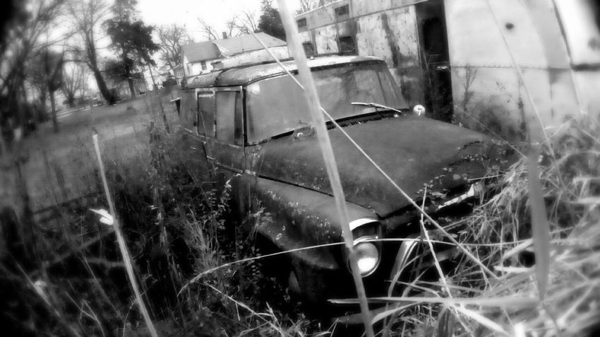 Rural Scenes Outdoors Abandoned Black & White Old Car Grass