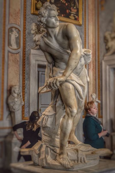 El David de Bernini, Villa Borghese (Roma - Italy) Travel Tourism Sculpture Statue Human Representation Museum Bernini David Borghese Rome Italy Travel Destinations History Art