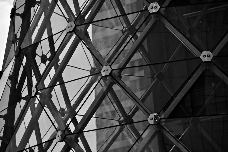 Low Angle View Pattern Ceiling No People Built Structure Full Frame Indoors  Architecture Backgrounds Geometric Shape Design Metal Shape Day Architectural Feature Lighting Equipment Close-up Technology Hanging Directly Below Electrical Equipment Business Downtown District