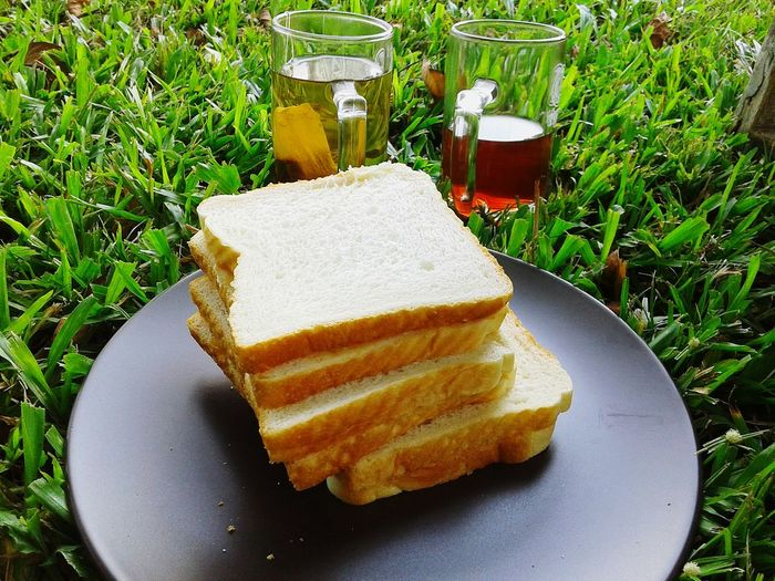 Close-up of breads in plate on grass