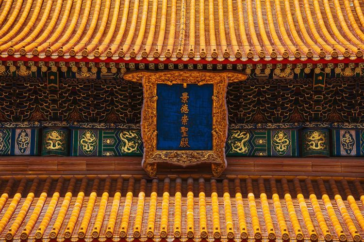 Multi colored roof of building in temple