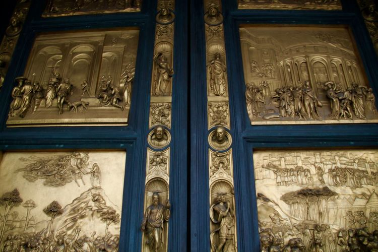 Ancient Architecture Art And Craft Bas Relief Built Structure Close-up Day Florence Gate Gates Of Paradise Golden History Italy No People Outdoors Porta Del Paradiso Santa Maria Del Fiore Sculpture Travel Destinations