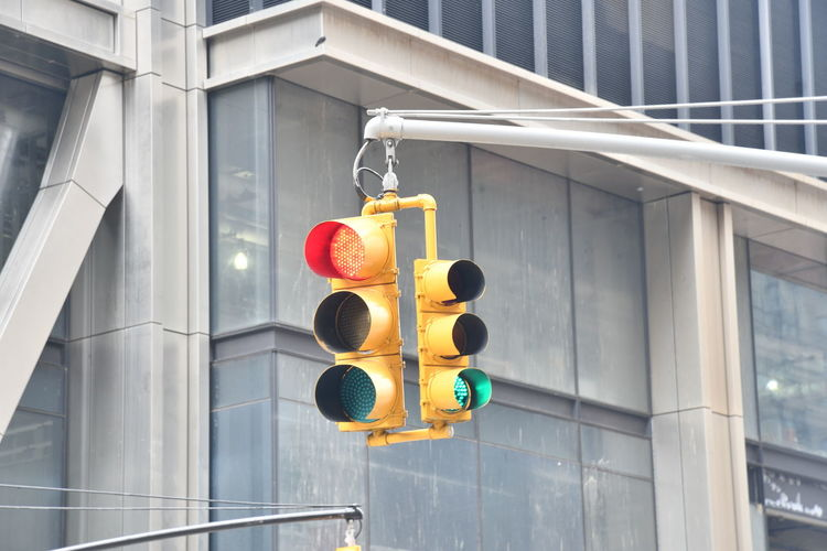 New York New York New York City Architecture Building Building Exterior Built Structure City Communication Day Guidance Light Lighting Equipment Low Angle View No People Outdoors Protection Red Light Road Signal Safety Security Sign Stoplight