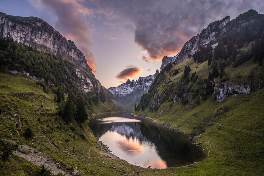 Beauty In Nature Cloud - Sky Environment Idyllic Lake Mountain Mountain Range Nature No People Non-urban Scene Outdoors Plant Remote Scenics - Nature Sky Sunset Tranquil Scene Tranquility Water