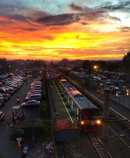 Train Station in Serpong Rawa Buntu Sunset Sunset_collection Sunset #sun #clouds #skylovers #sky #nature #beautifulinnature #naturalbeauty #photography #landscape Lovely Weather
