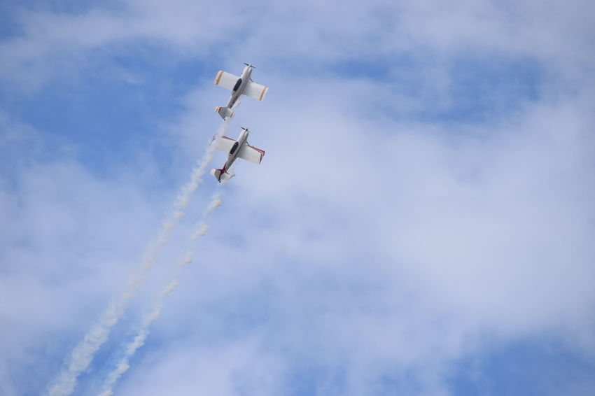Southport Airshow 2016 Mid-air Cloudy Blue Sky Stunt Planes Smoke Trails Flying Climbing