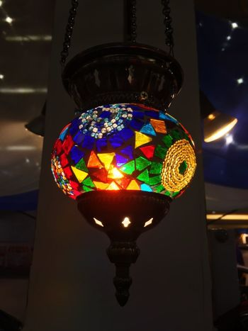 Illuminated Lighting Equipment Multi Colored Indoors  Decoration Glowing No People Close-up Electric Lamp Hanging Night Light - Natural Phenomenon Light Low Angle View Electricity  Glass - Material Sphere Electric Light Single Object Wall - Building Feature