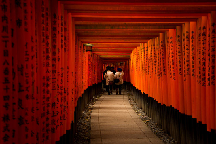 the destination Architectural Column Architecture Art Is Everywhere Built Structure Day Full Length Fushimi Inari Shrine Japan Kyoto Lifestyles People Place Of Worship Rear View Red Religion Shrine Spirituality The Way Forward Togetherness Travel Destinations TCPM Break The Mold EyeEmNewHere Visual Feast