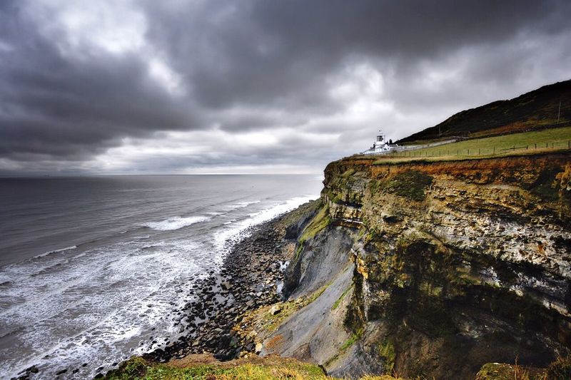 Whitby Lighthouse Seascape Cliffs Stormy Weather Outdoors The Great Outdoors - 2015 EyeEm Awards Rock