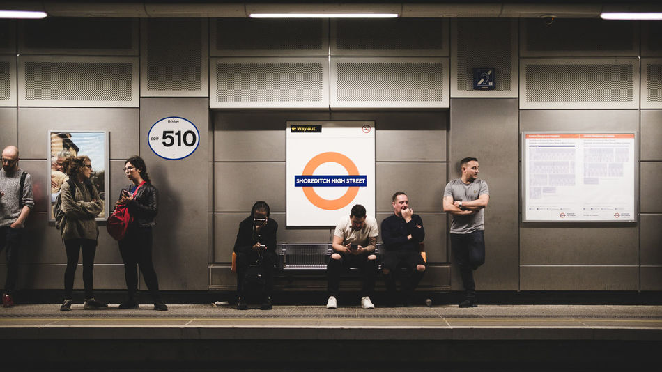 London underground Group Of People Real People Men Women Architecture People Adult Lifestyles Males  Standing Full Length Indoors  Built Structure Communication Casual Clothing Females Blurred Motion Togetherness Front View Medium Group Of People