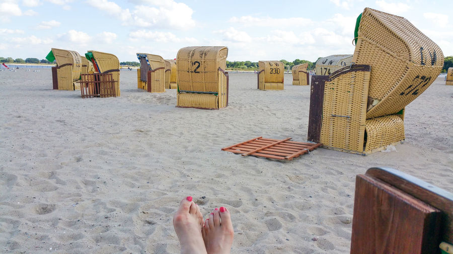 Baltic Sea Beach Clear Sky Clouds Day Feet Feets Foot Lübeck Lübeck-Travemünde Outdoors Painted Toenails Painted Toes Relaxation Sand Schleswig-Holstein Sitting Sky Spa Town Travemünde Wicker Beach Chair