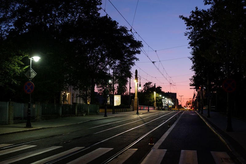 View of railroad tracks in city