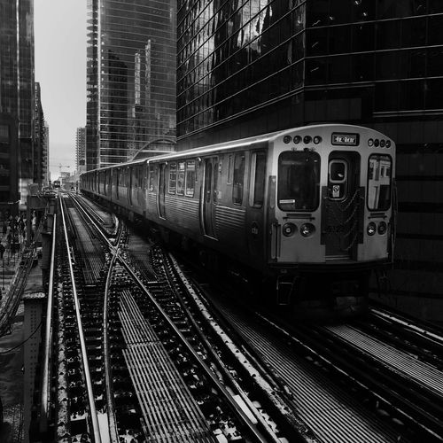 Scenes from the l Streetphotography Blackandwhite Train CTA Railroad Track Transportation Rail Transportation Public Transportation Train - Vehicle Mode Of Transport No People Architecture City