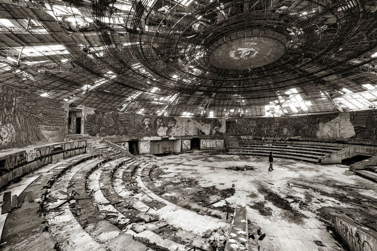Architectural Feature Architecture Built Structure Bulgaria Buzludzha Buzludzha Monument Interior Communist Architecture Communist Monument Day Design Growth History No People Ornate Outdoors Stone Material The Past The Way Forward Tourism Travel Destinations Tree Walkway Fine Art