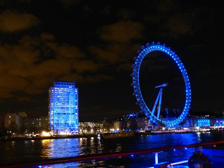 London Eye Thamse Night Blue Hour