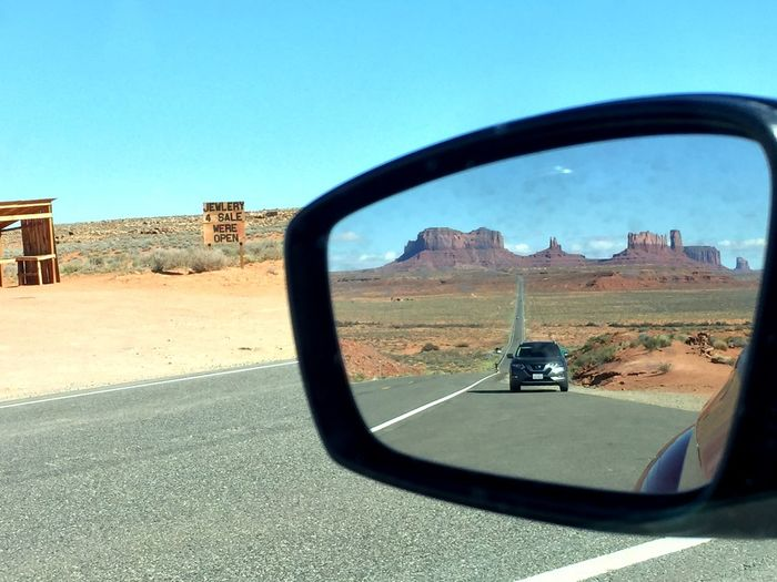 Roadtrip Rear-view Mirror Rear View Reflection Monument Valley Sky Side-view Mirror Transportation Mirror Day Nature Reflection Land Vehicle Built Structure Sunlight Architecture Mode Of Transportation Motor Vehicle