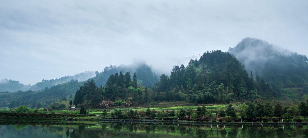Anhui,China Huizhou Lake Landscape Mist Misty Mountain Nature Scenics Spring Tranquil Scene Tranquility Travel Destinations XIDI